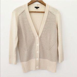 Ann Taylor Cream & Tan Cardigan Sweater